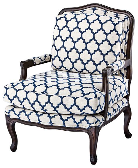Navy And White Accent Chair Berg 232 Re Navy White Contemporary Armchairs And Accent Chairs By One