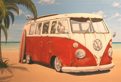 volkswagen bus painting vintage vw bus painting by branden hochstetler