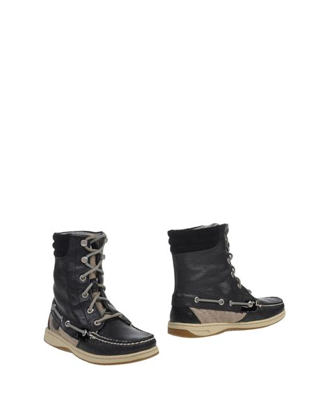 sperry top sider boots lyst sperry top sider ankle boots in black