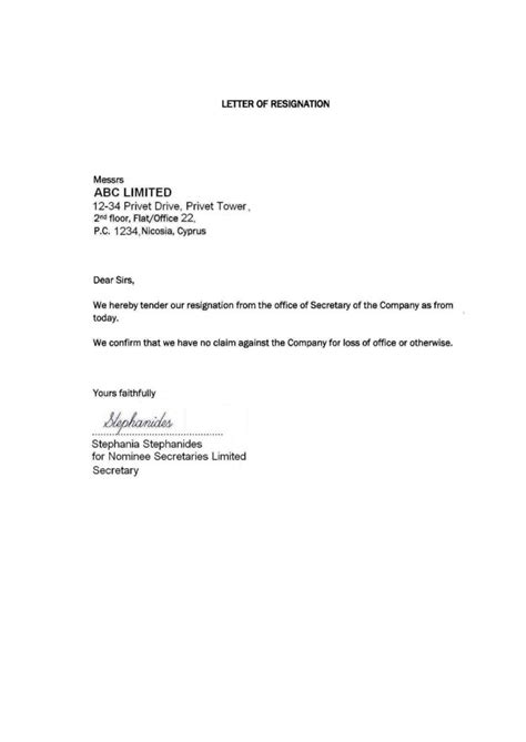 resignation letter format extraordinary simple