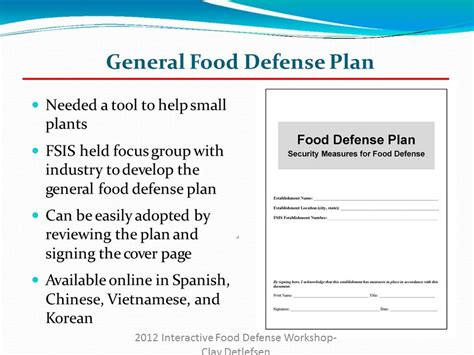 food defense plan exle foodfash co