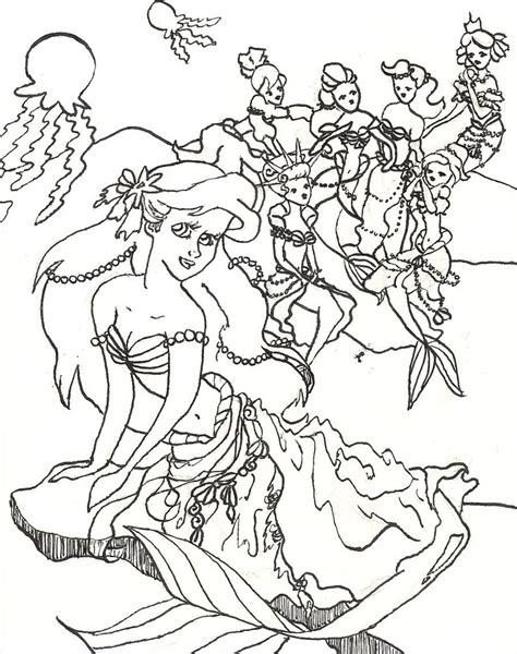 coloring pages of ariel and her sisters ariel and her sisters ariel and her sisters dress up by