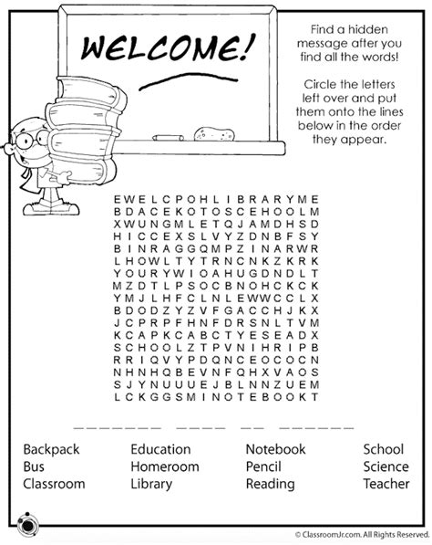 Free Word Search With Message Printable 7 free printable back to school word searches