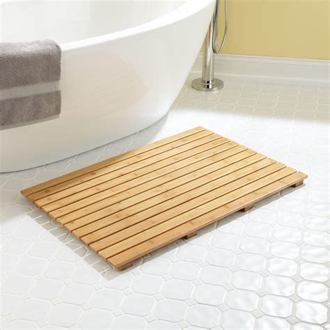 "36"" x 24"" Rectangular Bamboo Bath Mat   Bathroom"