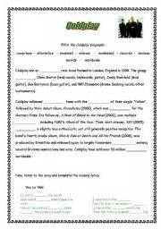 biography of coldplay in english english teaching worksheets coldplay