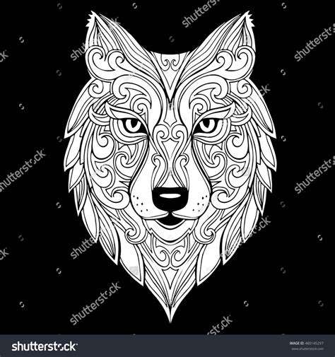 Wolf Zentangle Outline by Vector Doodle Wolf Stock Vector 480145297