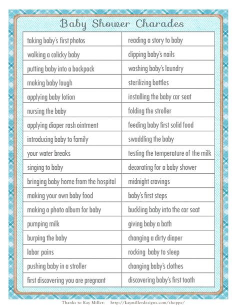 4 best images of charades word list printable free charades baby shower game in a vintage style with blue