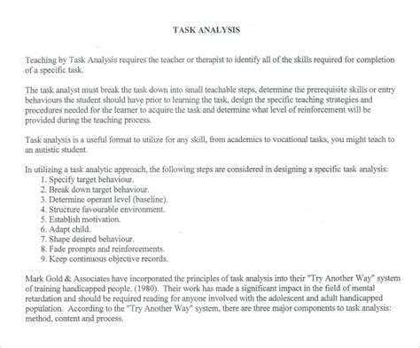 11 Sle Task Analysis Templates For Free Download Sle Templates Task Analysis Template