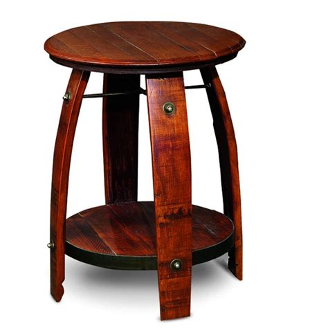 wine barrel table reclaimed wine barrel rustic end table