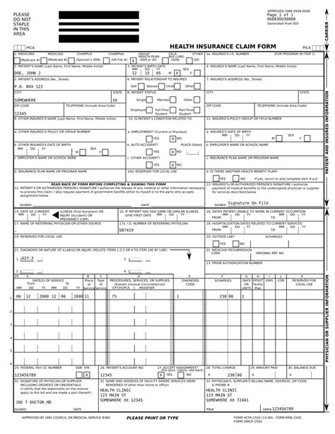 fillable cms 1500 template free cms claim form 1500 template in fillable pdf