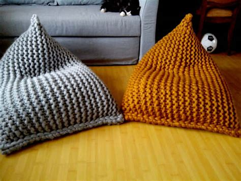 Knitted Bean Bag Chunky Wool Knit Grey Mustard Bean Bag Bean Bag