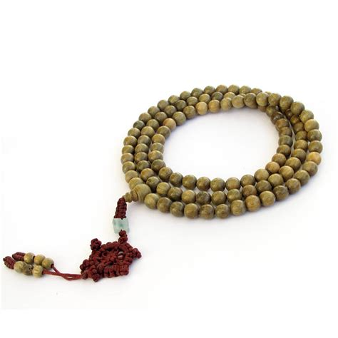 buddha bead necklace tibetan buddhist 108 green sandalwood prayer mala