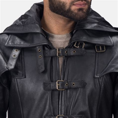 Hooded Trench Jacket mens huntsman black hooded leather trench coat