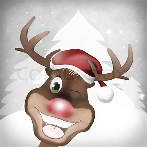 rudolph red nose happy christmas stock photo colourbox