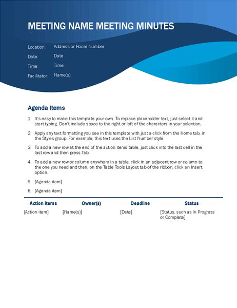 download ms word meeting minutes template software 7 0 shareware by