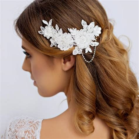 Wedding Hair Pieces by Lace Bridal Hair With Rhinestone Lace Wedding Hair