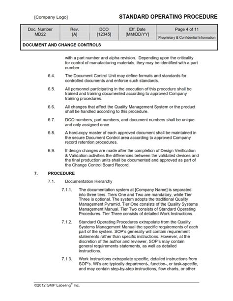 documenting procedures template design document controls sop templates md200