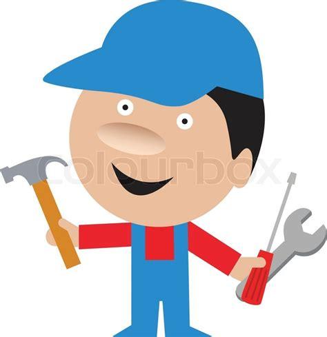 Design A House Online For Free funny cartoon of handyman repairman vector colourbox