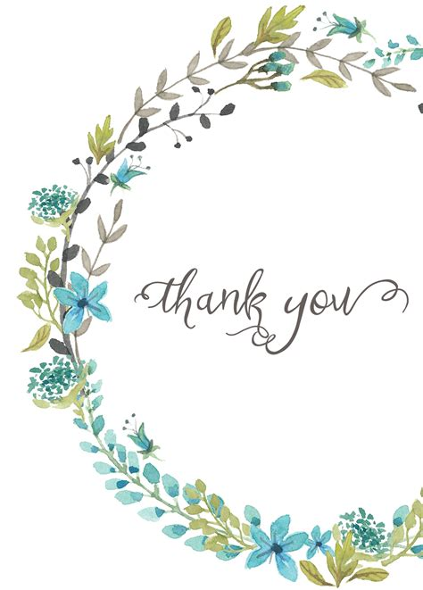 thank you card template flowers thank you card blue wreath everyday gratitude