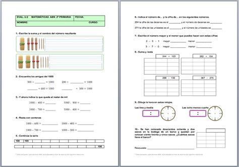 matemticas 1 primaria 8466797068 evaluaci 243 n unidad 2 matem 225 ticas abn 1 186 y 2 186 de primaria actiludis