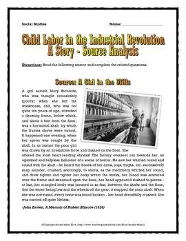 Industrial Revolution And Child Labor Story Analysis Q