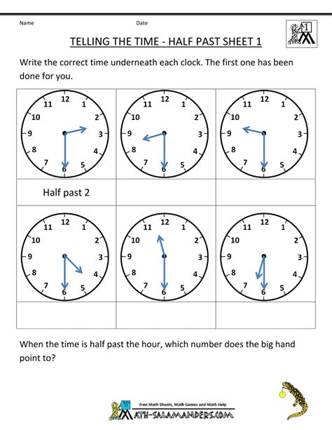 Time To The Hour Worksheets by Grade Math Activities Telling The Time Half Past 1