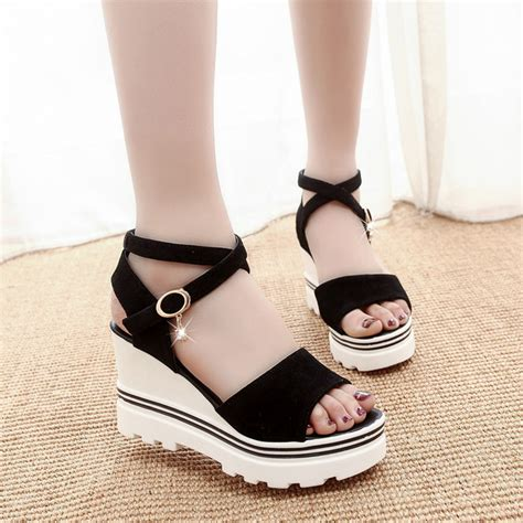 Sandal Wedges Korea 112 summer korean muffin fish sandals with platform sandals simple shoes shook with