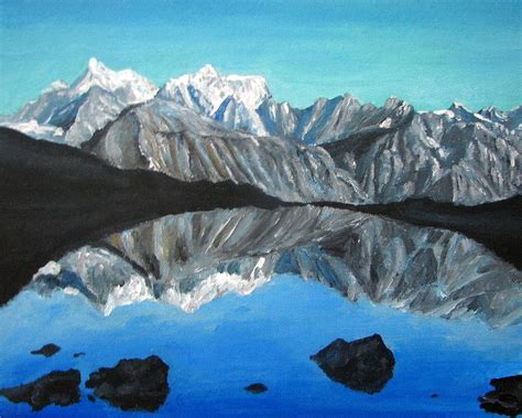 Best Home Decor Blogs by Mountains Landscape Acrylic Painting Painting By Natalja