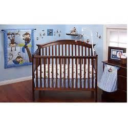 Monkey Bedding For Cribs Bedding By Nojo 3 Monkeys 10pc Nursery In A Bag Crib Bedding Set Blue Walmart
