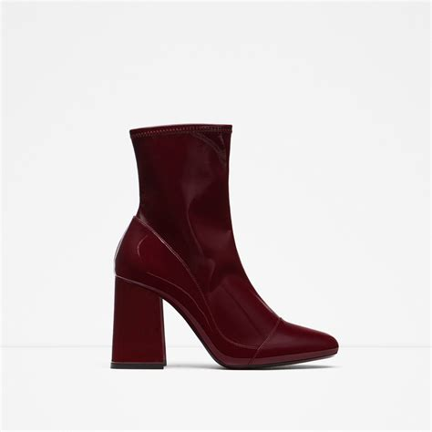 sock ankle boots zara high heel sock style ankle boots in purple burgundy
