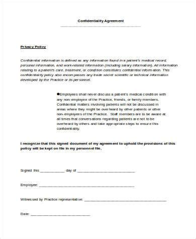 confidentiality agreement template word confidentiality agreement form sles 9 free documents