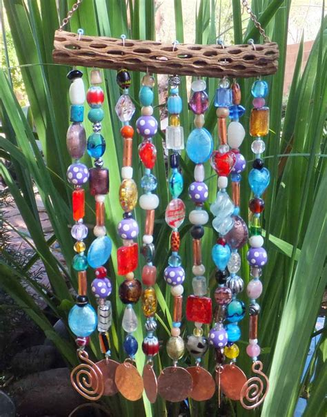 Handmade Wind Chimes - glass wood copper bead wind chime sun catcher handmade