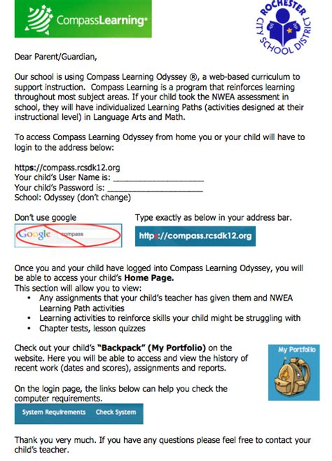 Parent Letter Nwea compass using compass