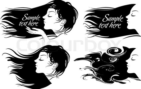 vector hair tutorial illustrator beautiful girl with long hair hair fluttering wind vector