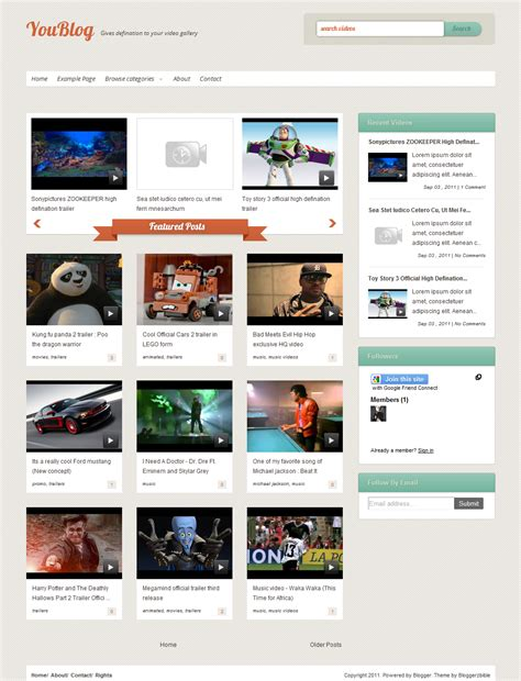 new blogger video template youblog computer tips