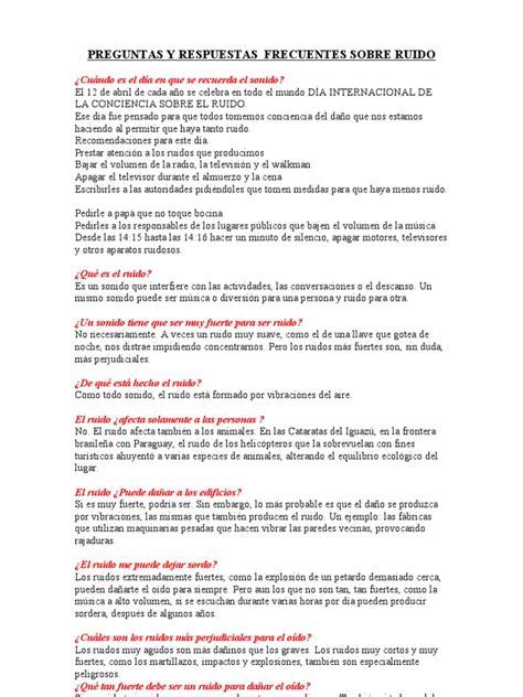 preguntas sobre la contaminacion preguntas y respuestas contaminaci 243 n acustica