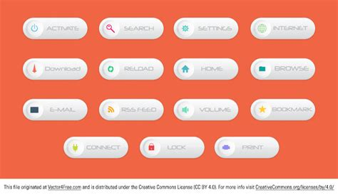 horizontal web free vector buttons