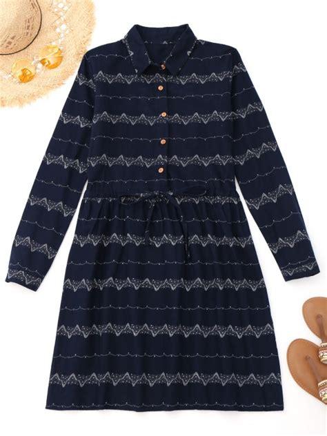 Drawstring Sleeve Dress printed drawstring sleeve dress purplish blue