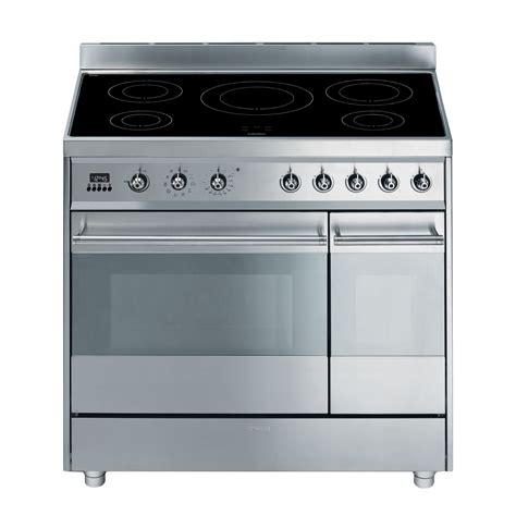 electric induction freestanding cookers smeg freestanding electric range cooker with induction hob sy92ipx8 departments diy at b q