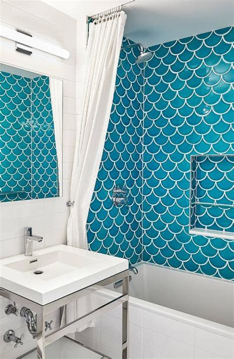 Fireclay Ogee Drop Ties in Shower   Cottage   Bathroom