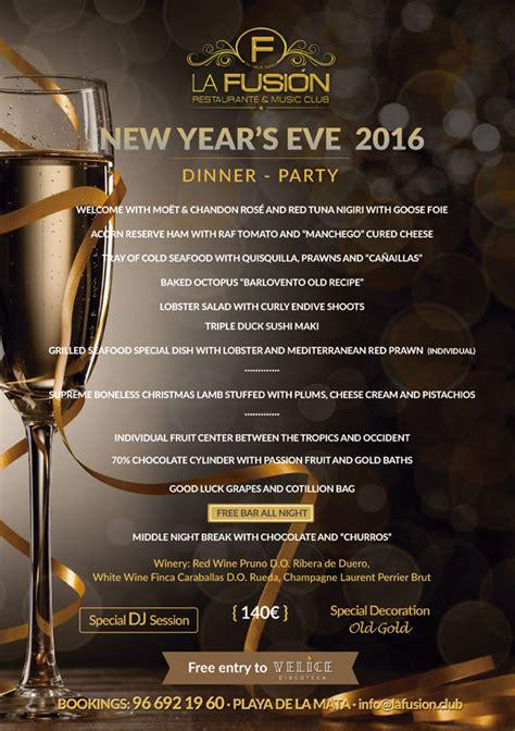 new year banquet menu 2016 dinner and new year s 2016 la fusi 243 n