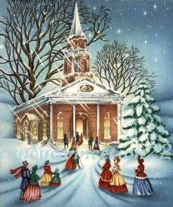 vintage christmas card  church goers vintage christmas cards vintage christmas