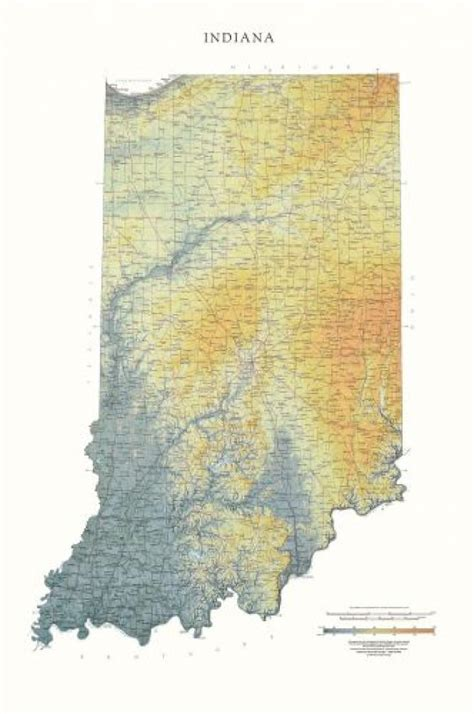 physical map of indiana indiana physical wall map by maps