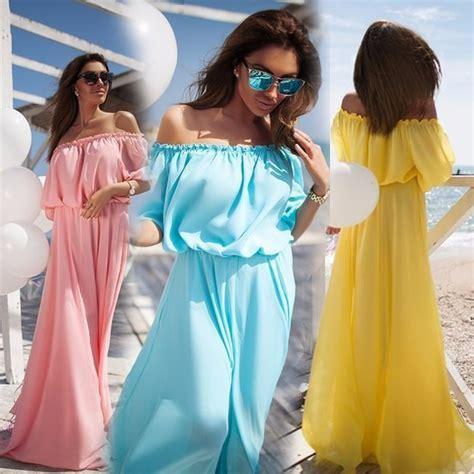 Ds3454 Dress Yellow Murah dress wanita sabrina shoulder chiffon size s blue jakartanotebook