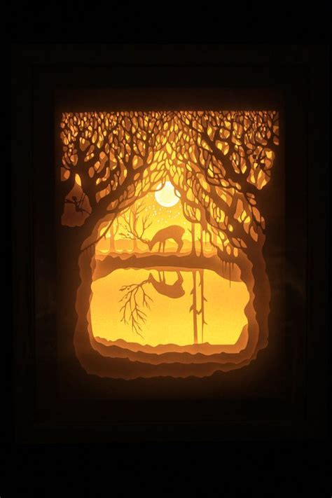 lights to a shadow book silhouette paper cut light box night light accent by