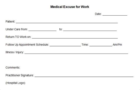 doctors note for work template doctors excuse template peerpex