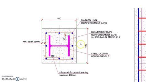 reinforced concrete encased steel column detail youtube