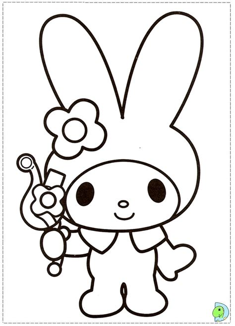 My Melody Coloring Page Dinokids Org Melody Coloring Pages