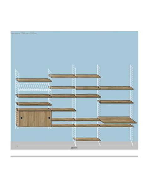 string shelving string shelving system 2 white and oak