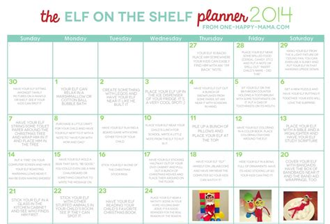 free printable elf on the shelf calendar elf on the shelf 2014 calendar one happy mama